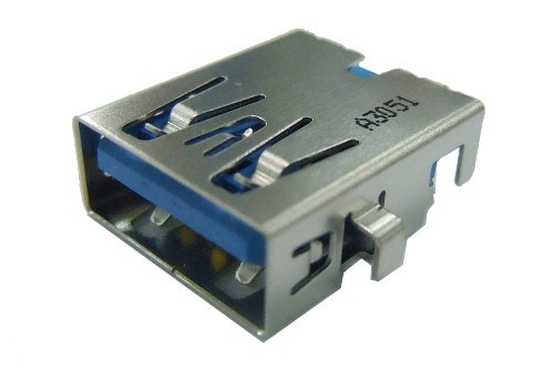 USB 3.0 A Type Single Port Receptacle R/A, Sink, Dip Type