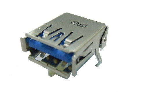 USB 3.0 A Type Single Port Receptacle R/A,Dip Type, 2 Pairsof Solder Dips